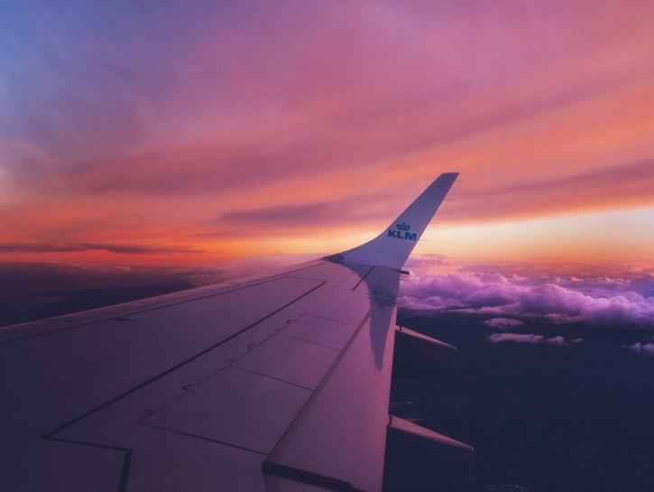 airplane, sunset