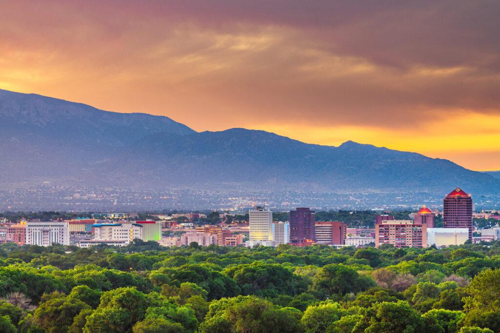 Albuquerque, NM skyline with Sandia Mountain backdrop.
