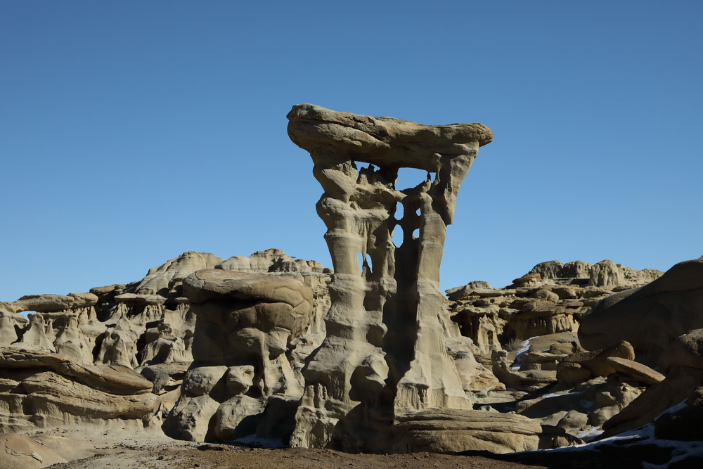 Alien Throne standing tall in the Valley of Dreams in New Mexico.