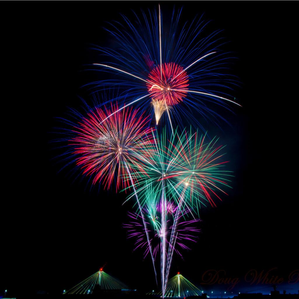 Alton, Illinois, fireworks on Fourth of July.