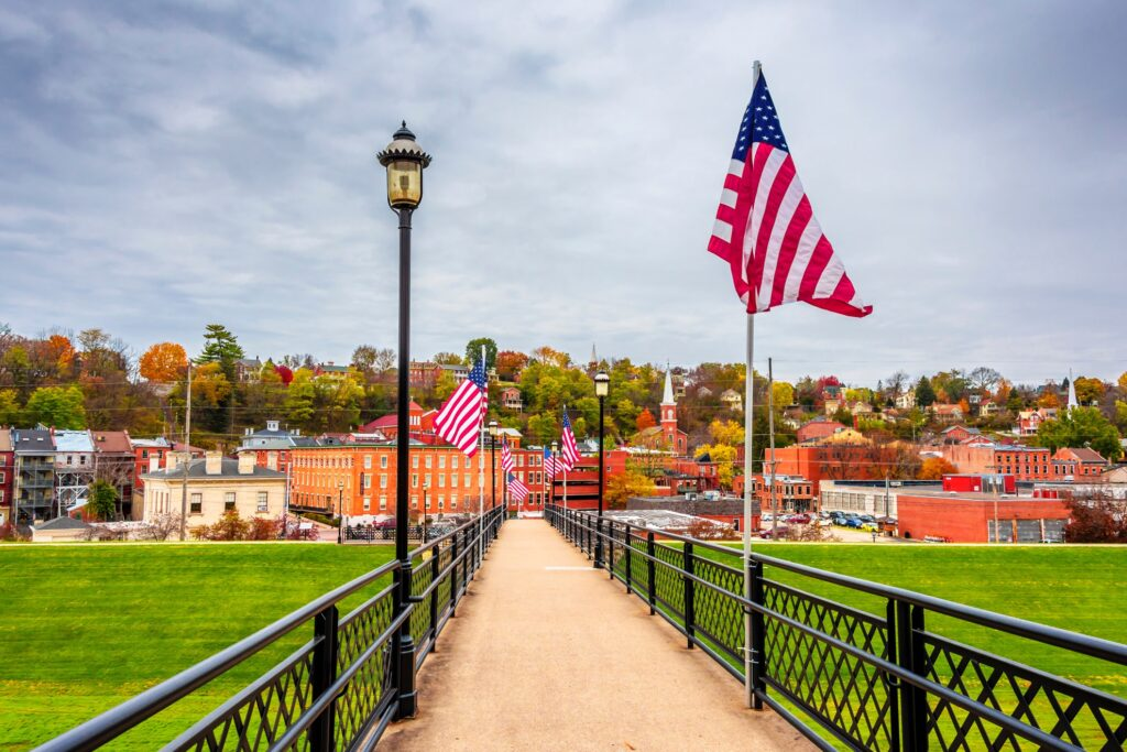 American Flags on display in Galena, Illinois.