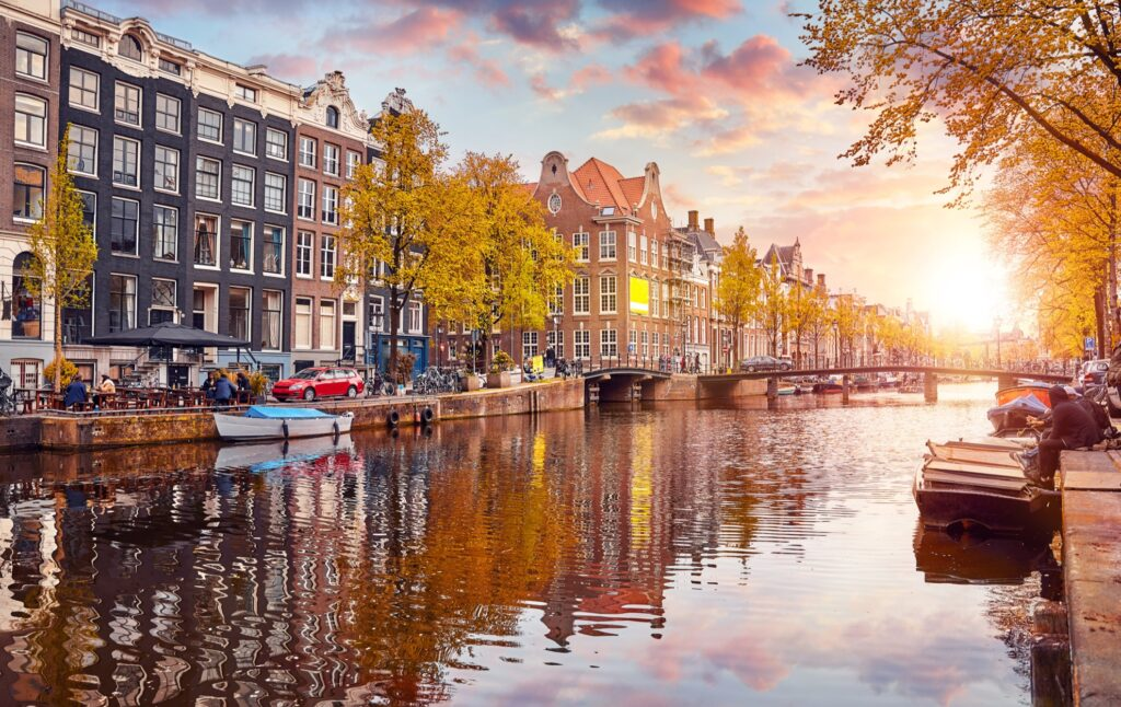Amsterdam, Netherlands, during the fall.