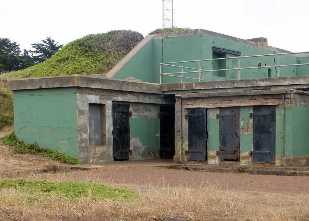 An abandoned battery at Battery Townsley.