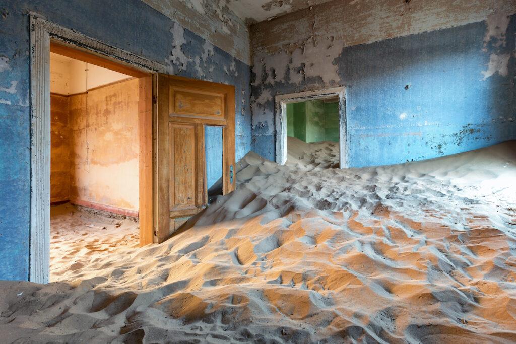 An abandoned home in Kolmanskop.