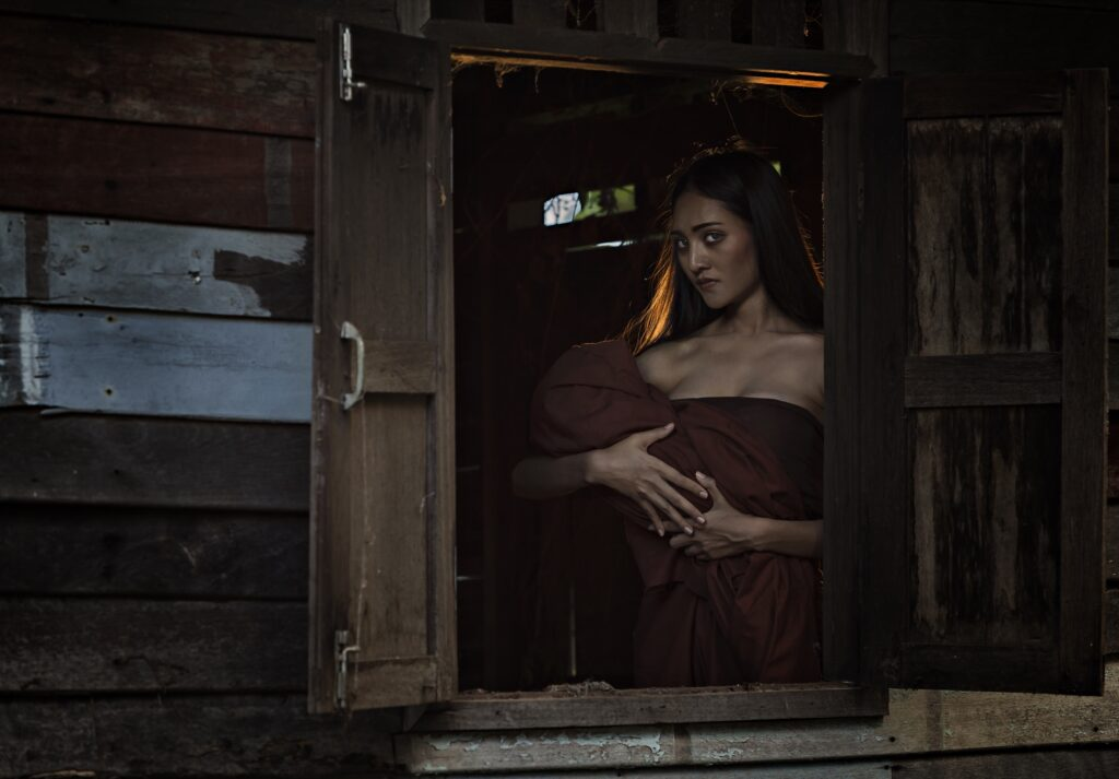 An actress posing as Mae Nak in Thailand.