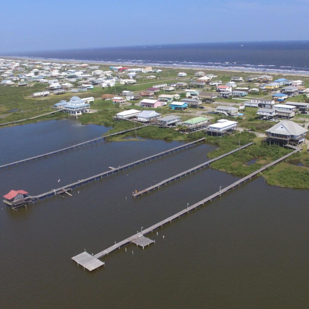 An aerial shot of Grand Isle