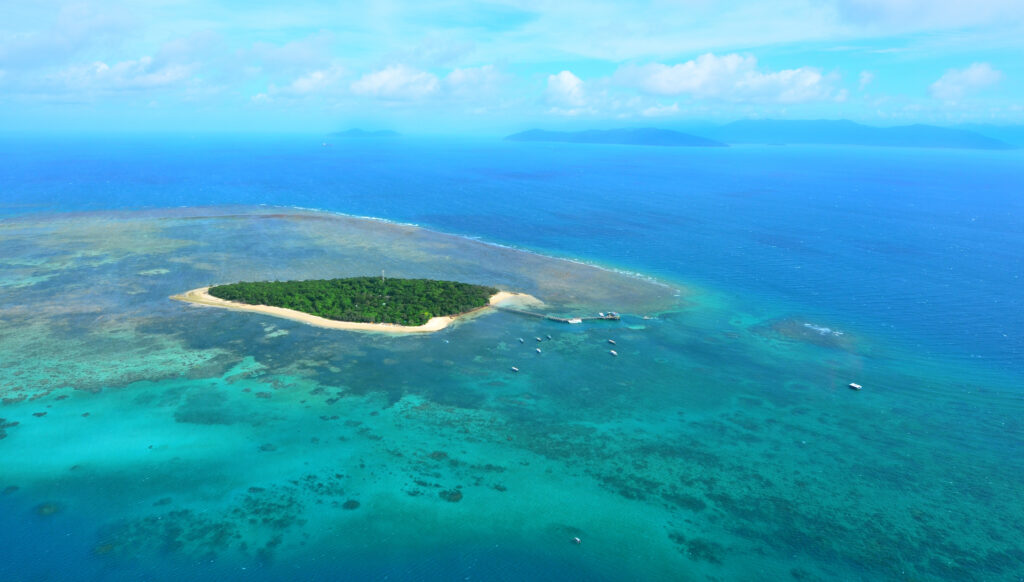 An aerial shot of Green Island in the Great Barrier Reef