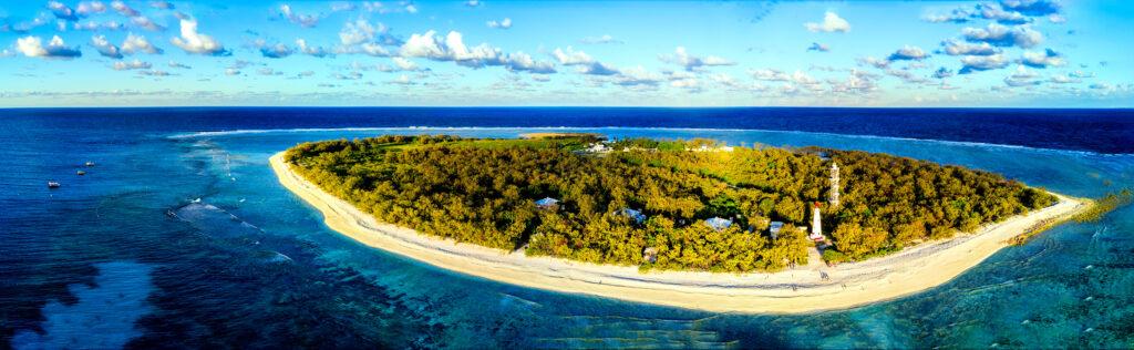 An aerial shot of Lady Elliot Island in Queensland, Australia