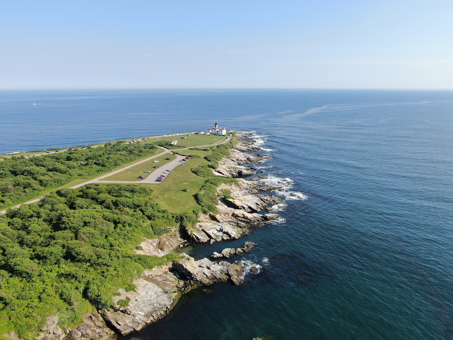 An aerial view of Beavertail State Park in Rhode Island.