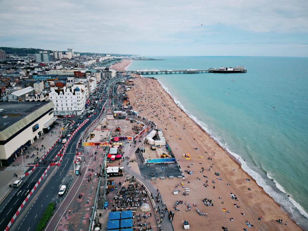 An aerial view of Brighton Beach