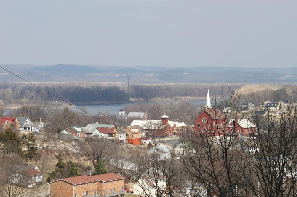 An aerial view of Hermann, Missouri