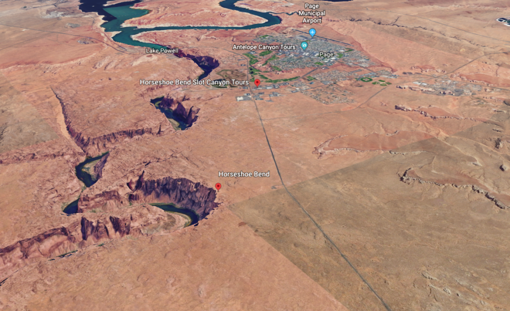 An aerial view of Horseshoe Bend and Page, Arizona