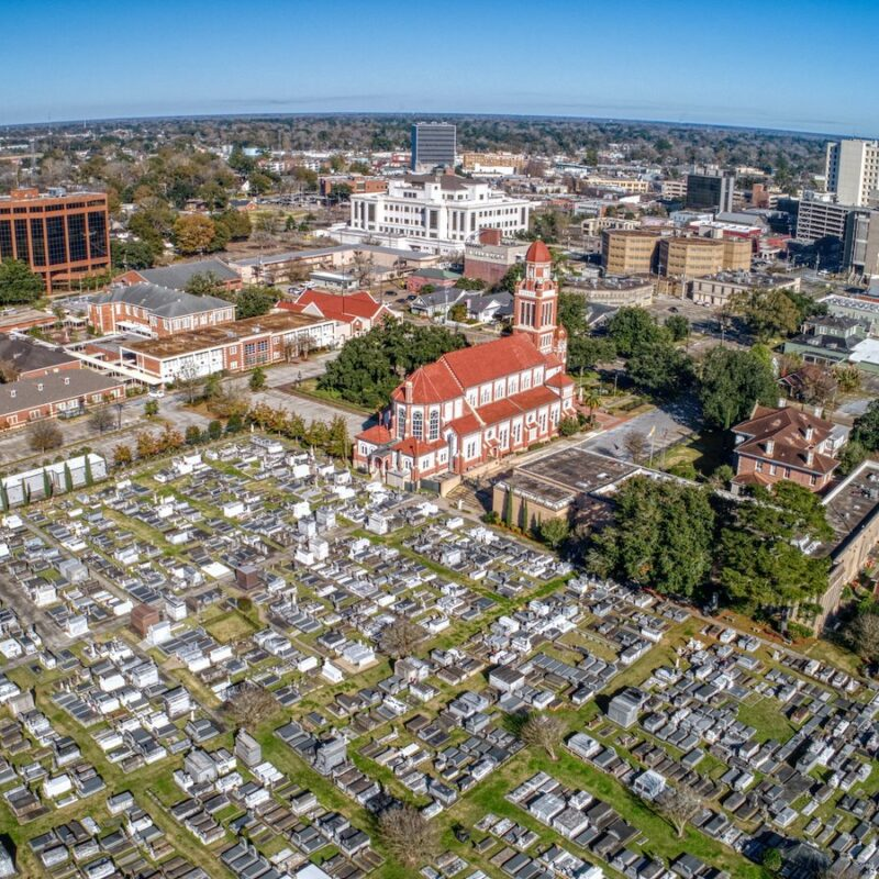 An aerial view of Lafayette, Louisiana.