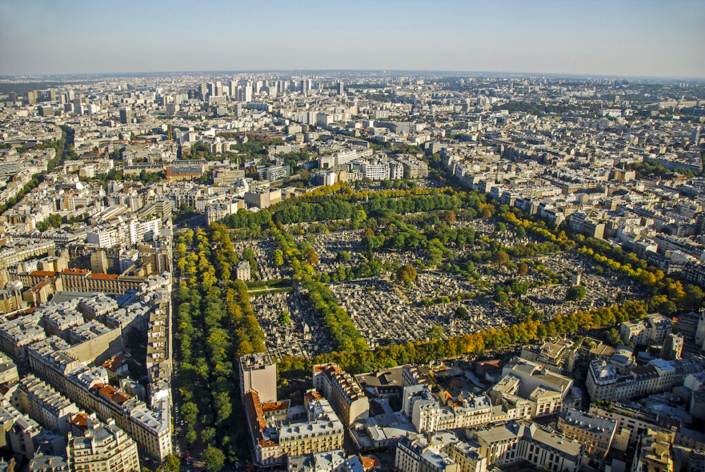 An aerial view of Montparnasse Cemetery.