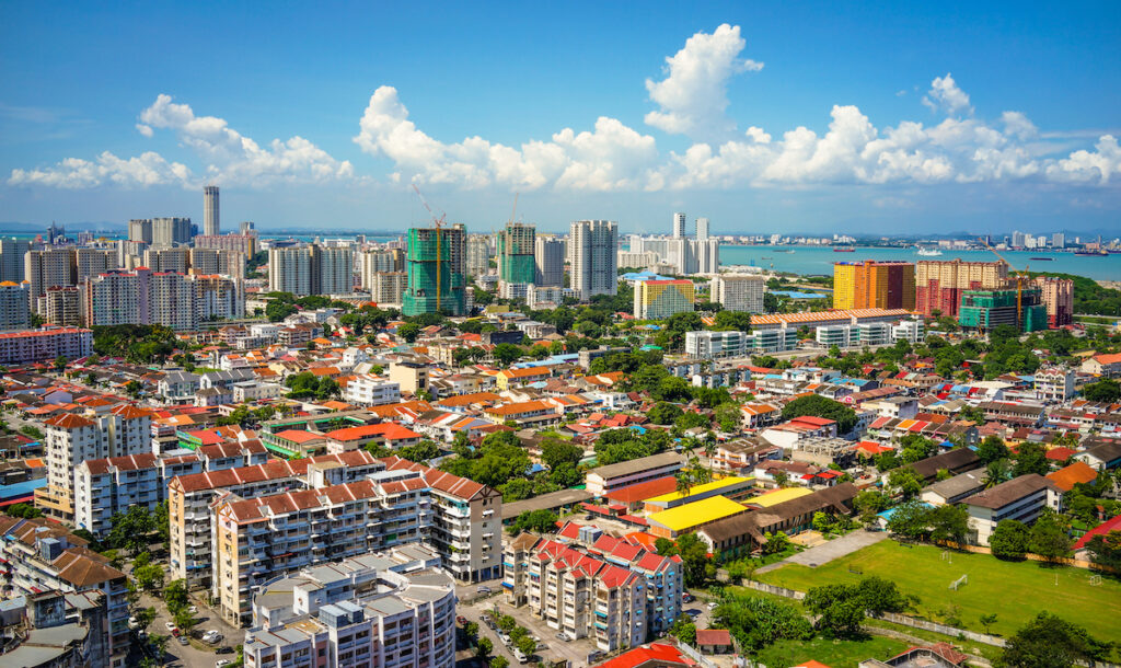 An aerial view of Penang, Malaysia.