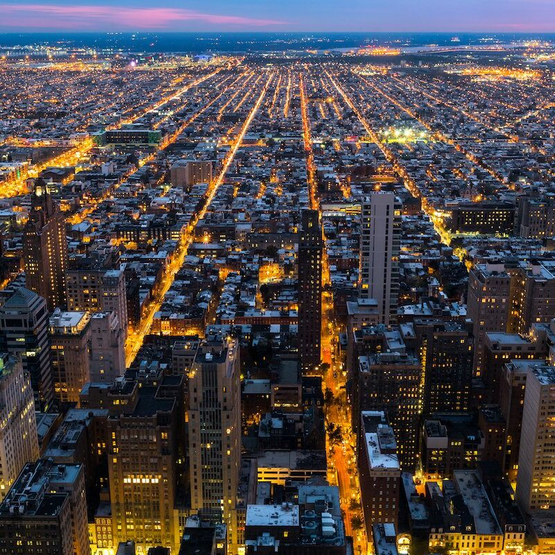 An aerial view of Philadelphia at night.