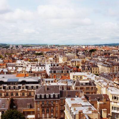 An aerial view of Reims, France.