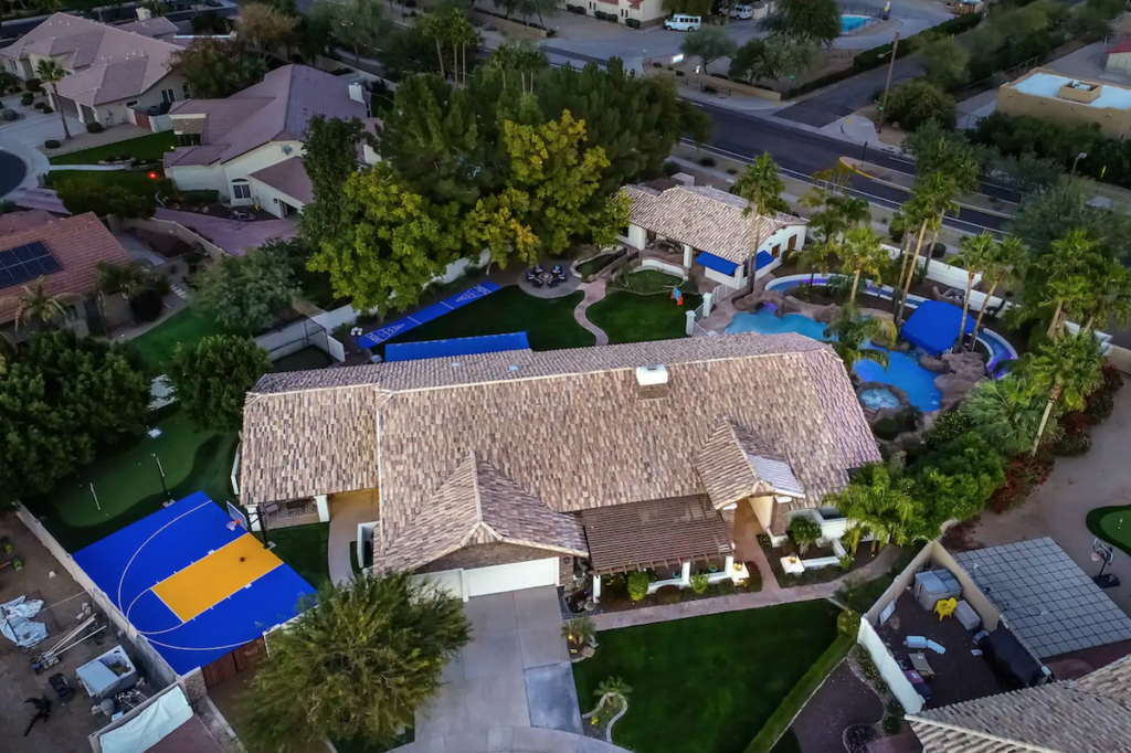 An aerial view of the Airbnb.