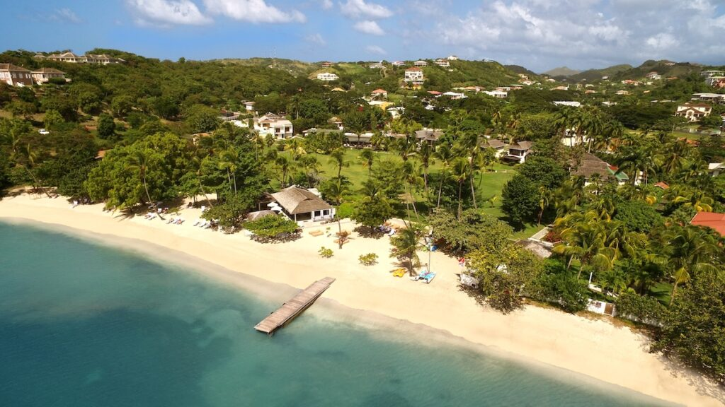 An aerial view of the beach at Calabash.
