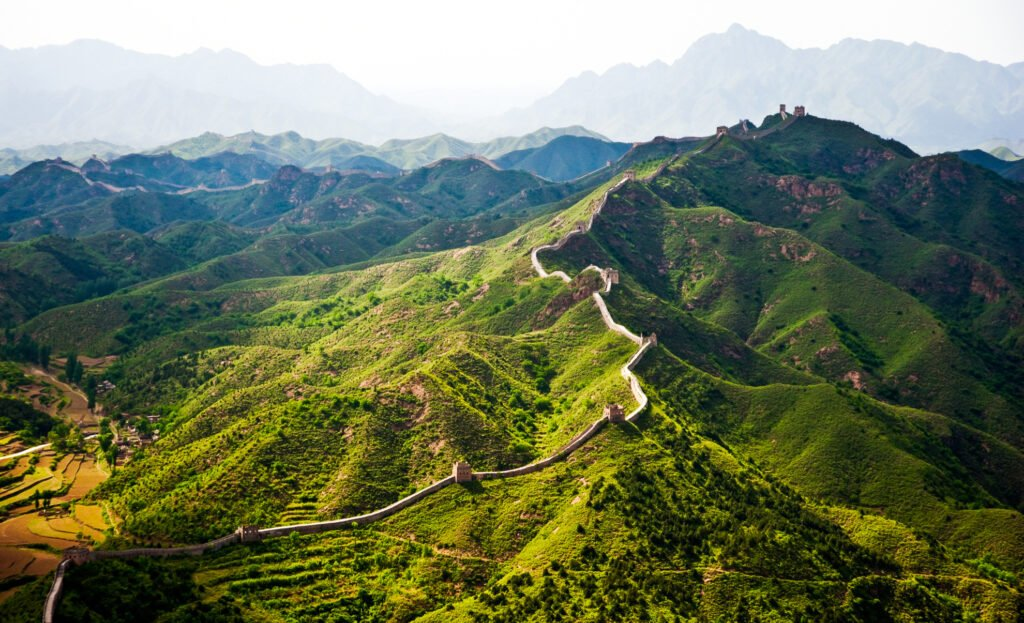 An aerial view of the Great Wall of China