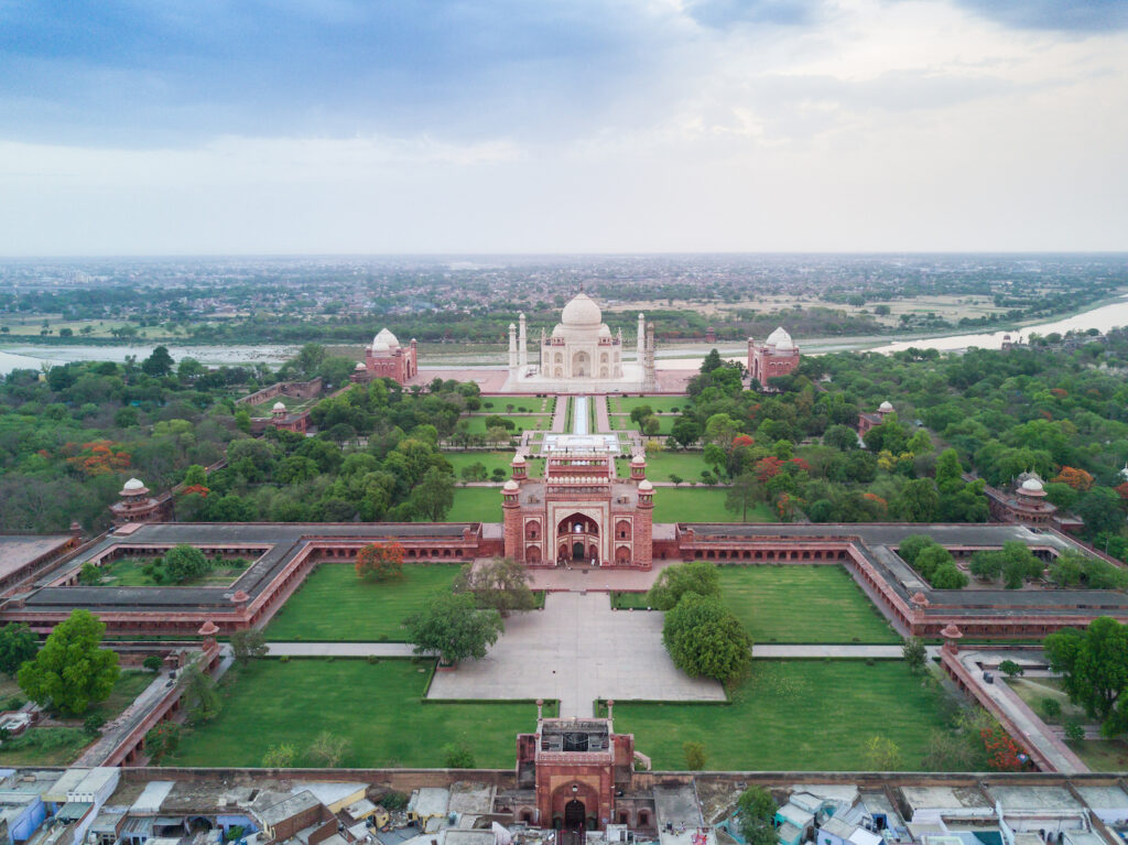 An aerial view of the Taj Mahal complex