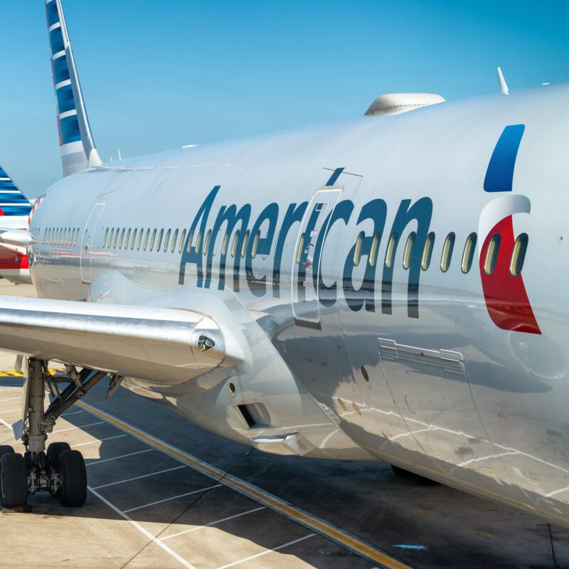 An American Airlines plane at an airport.
