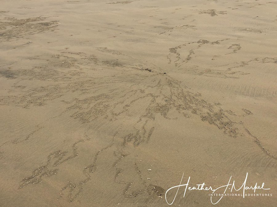 An angel pattern in the sand in Uvita.