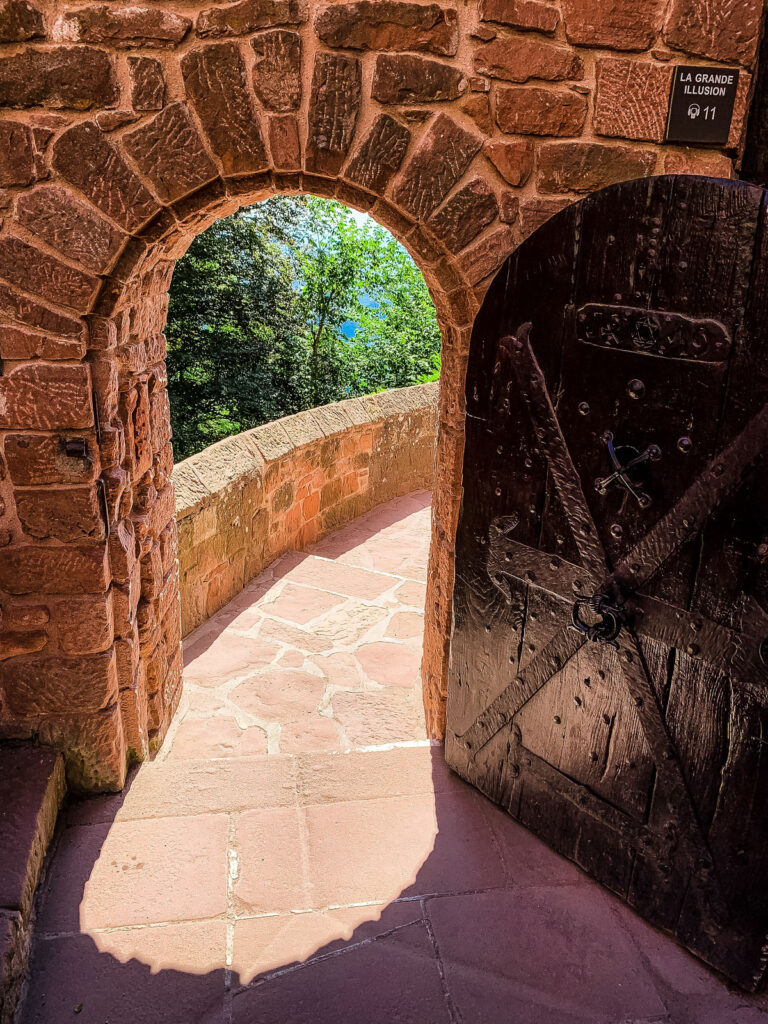 An arched gate at Haut-Koenigsbourg Castle in France.
