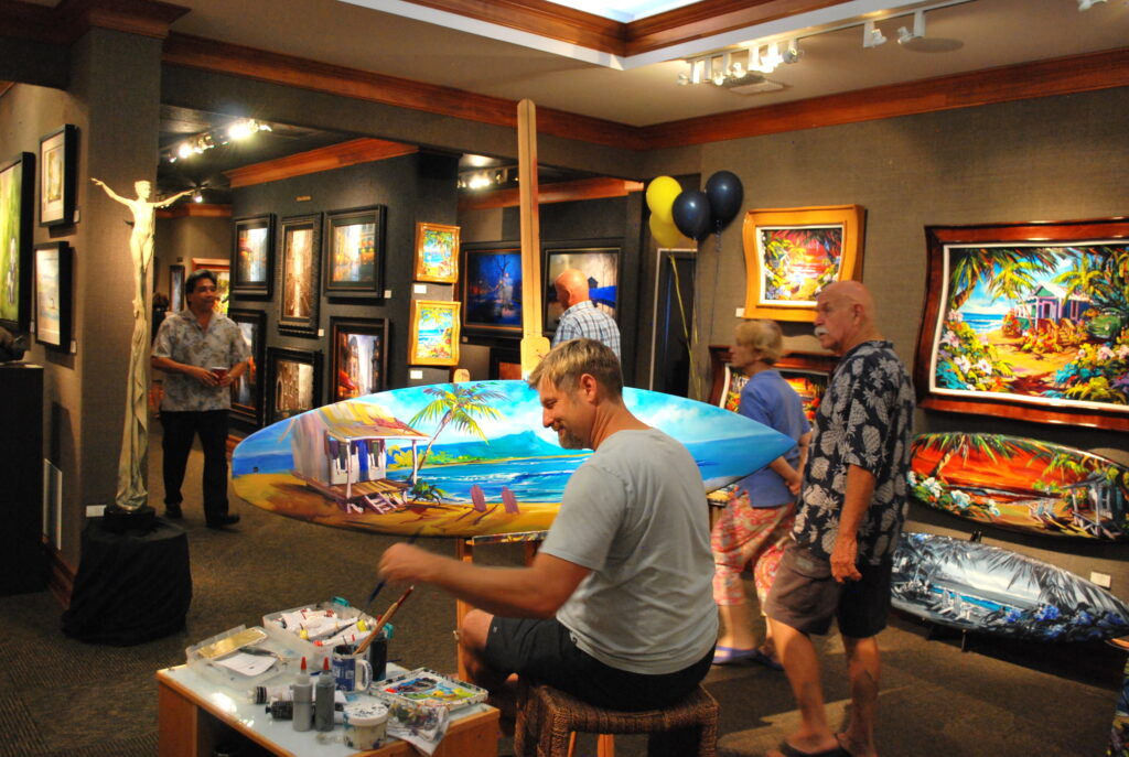An artist at the Lahaina Galleries.