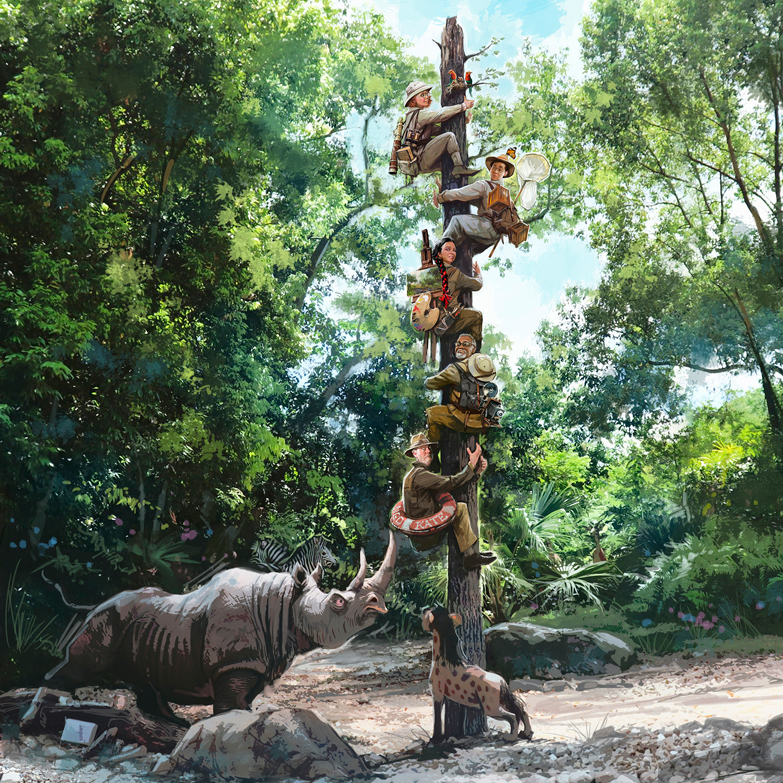 An artist's rendering of the Jungle Cruise updates.
