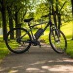 An electric bike in a park.