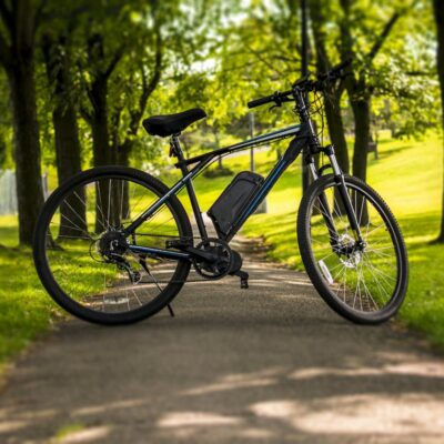 An electric bike in a park.