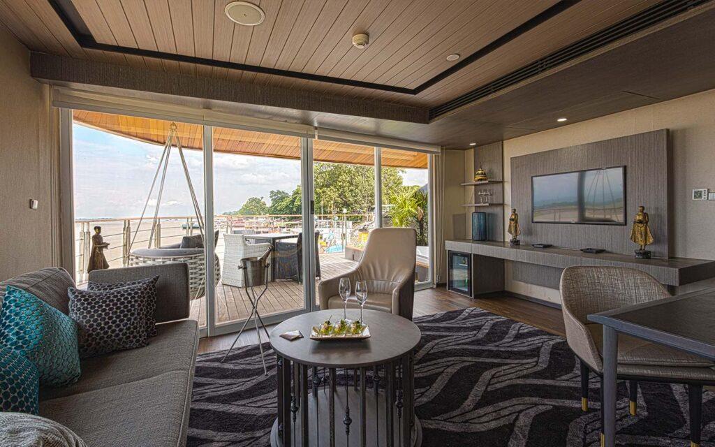 An elegant Scenic river cruise suite