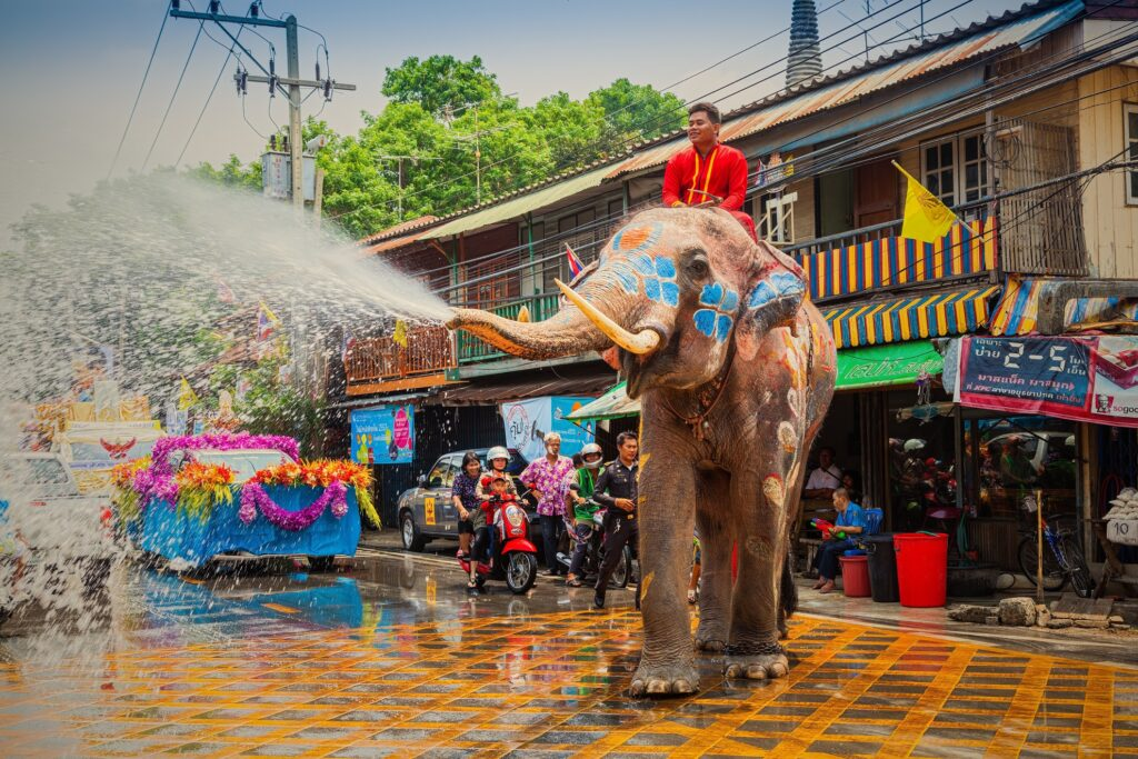 An elephant joining the Songkran festivities in Thailand.