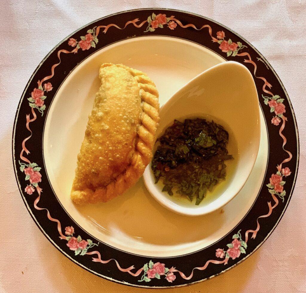 An empanada from Amanda's Restaurant in Hoboken.