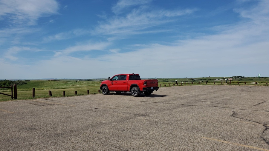 An empty parking lot in Theodore Roosevelt National Park.