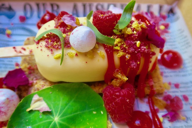 An English dessert of rhubarb and custard Magnum.