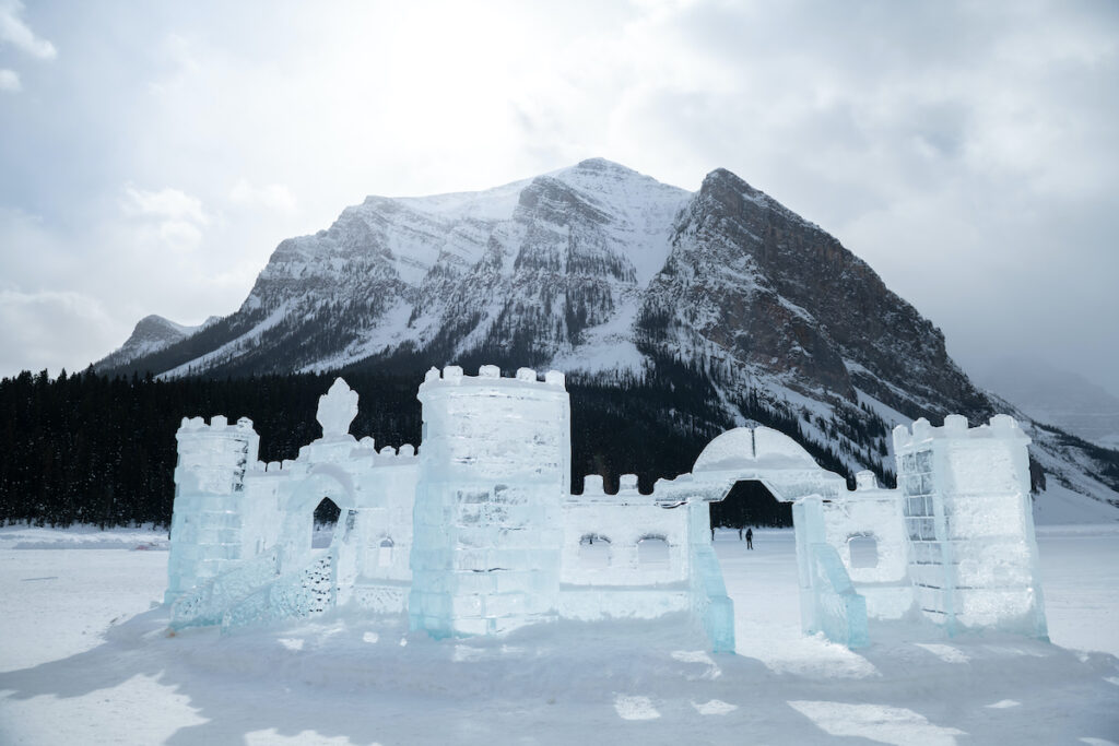 An ice castle at Lake Louise in Banff National Park.