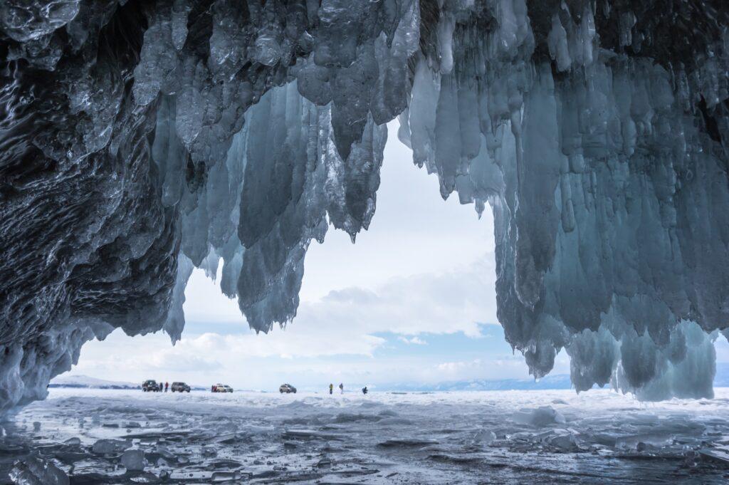 An ice cave on frozen Lake Baikal.