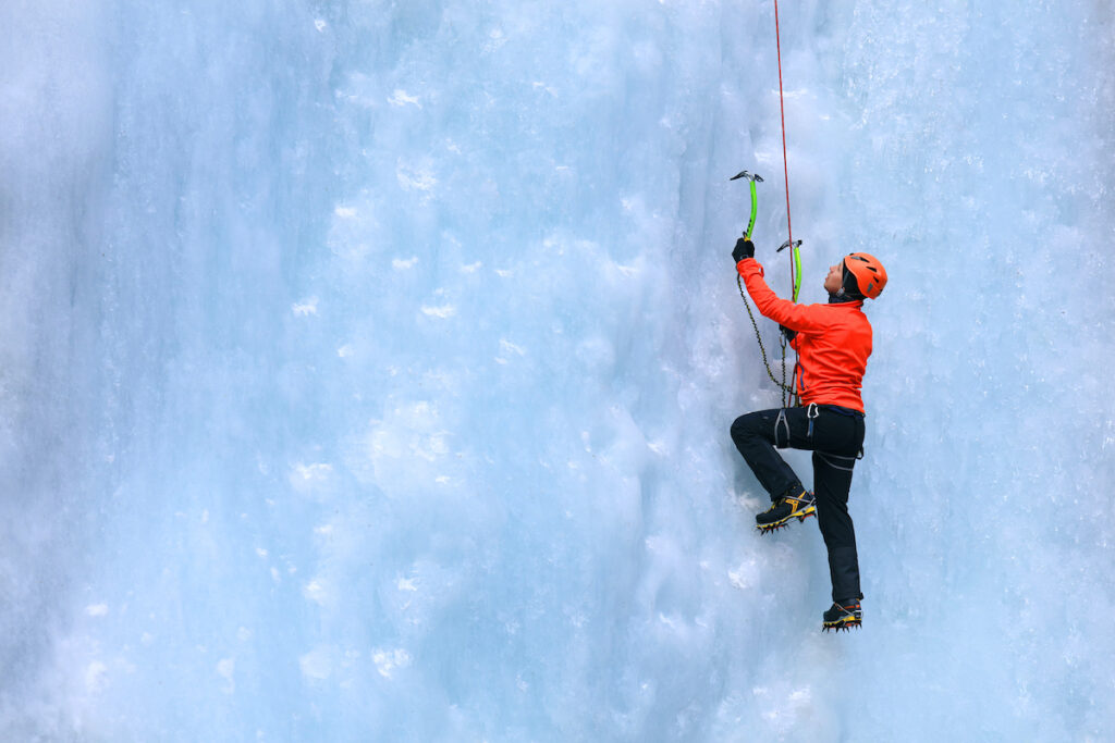 An ice climber during the winter.