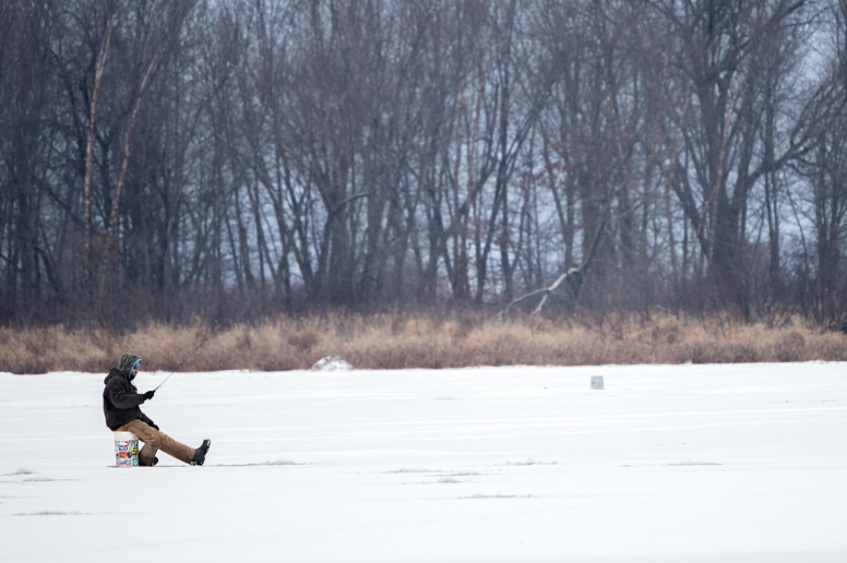 An ice fisherman in Minnesota.