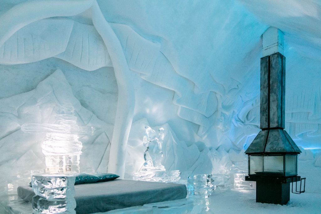 An ice hotel in Quebec City, Canada.