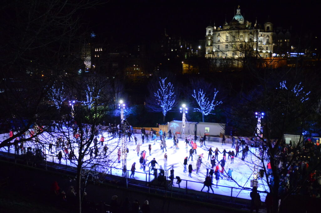 An ice skating rink in Edinburgh, Scotland.