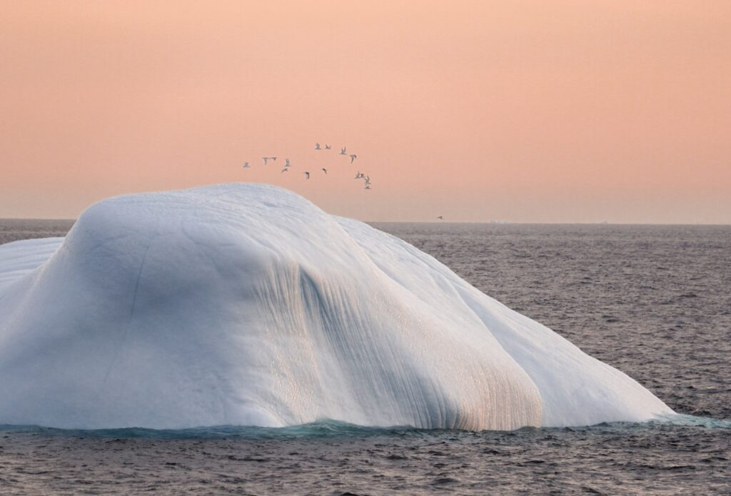 An iceberg at sunset in the Arctic.