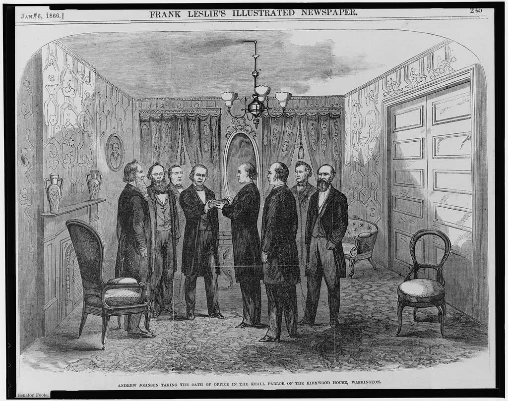 An illustration of Andrew Johnson taking the presidential oath of office.