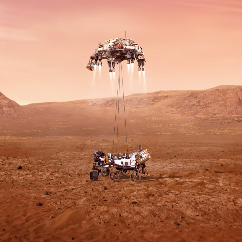 An illustration of the Perseverance rover landing on Mars.
