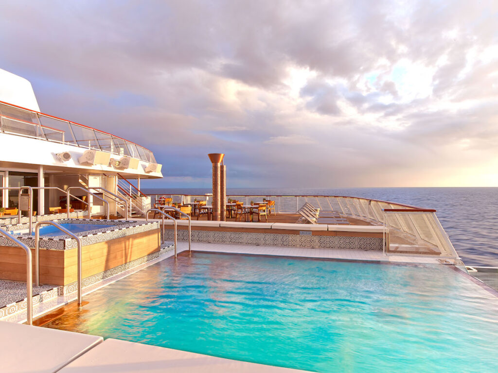 An infinity pool on the deck of a Viking Cruise ship.
