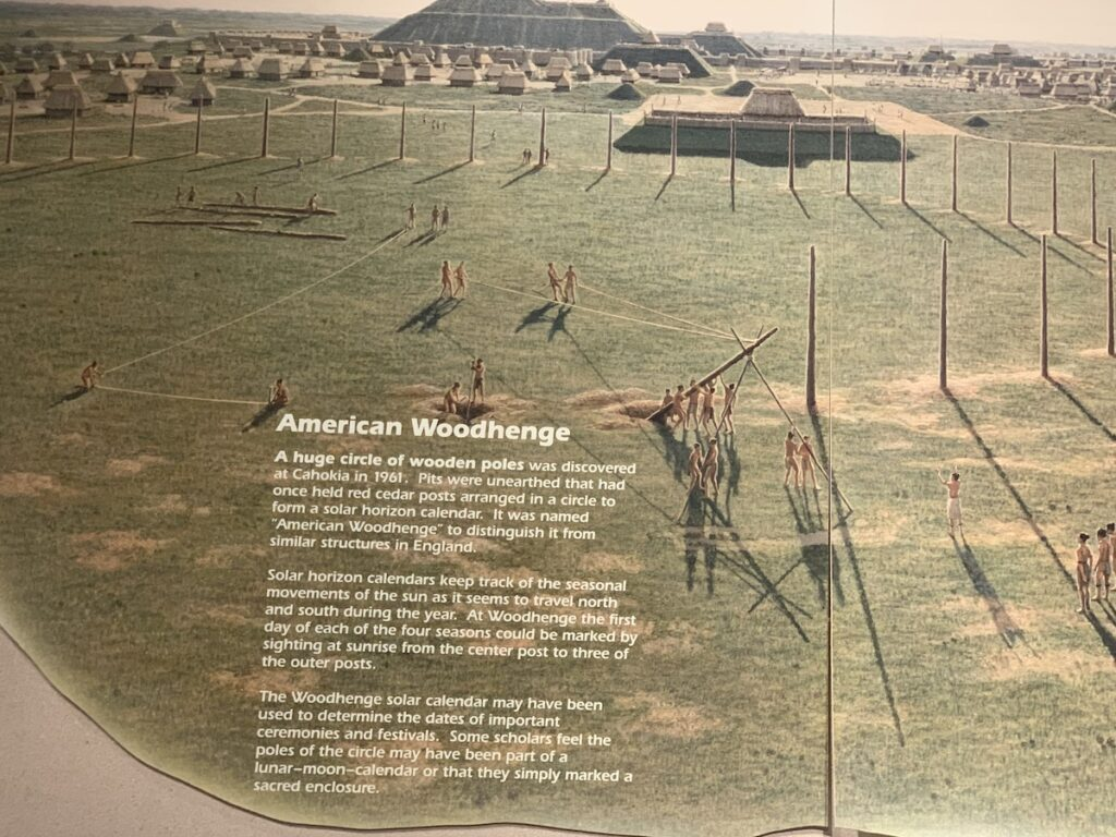 An informational sign about Woodhenge at Cahokia Mounds.