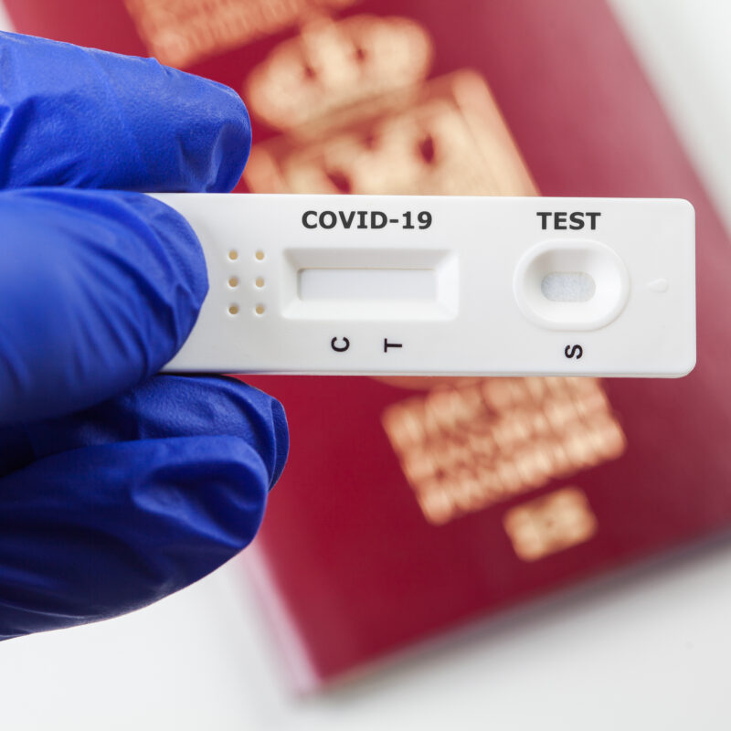 An international traveler's COVID test.
