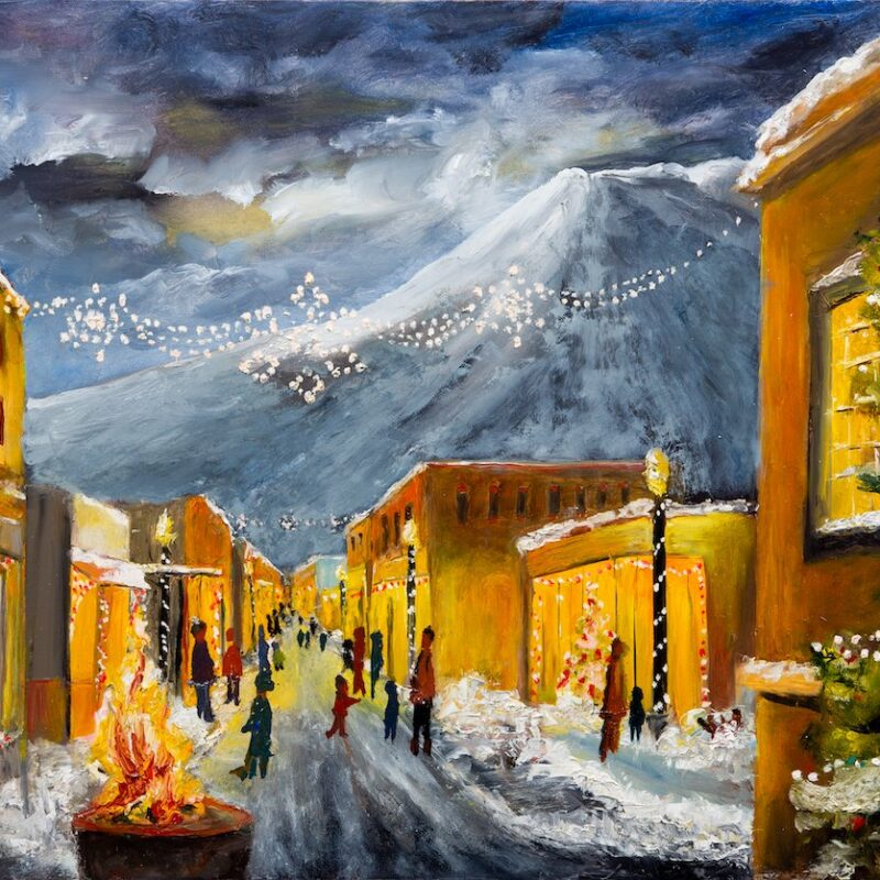 An oil panting that was used as a poster for the Christmas Stroll.